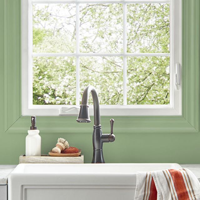 Kitchen painted in CALM FOREST