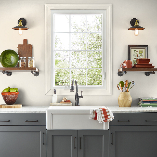 Kitchen painted in SWISS COFFEE