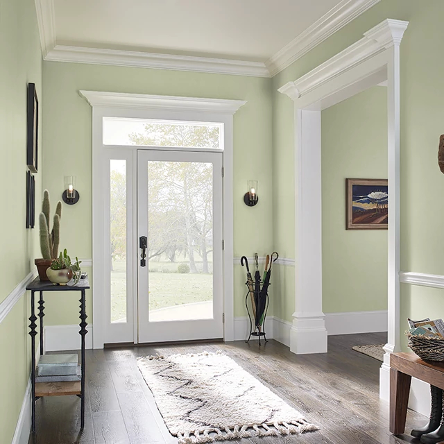 Foyer painted in CALIFORNIA AVOCADO