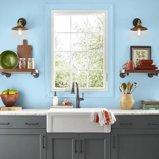 Kitchen painted in POOL PARTY