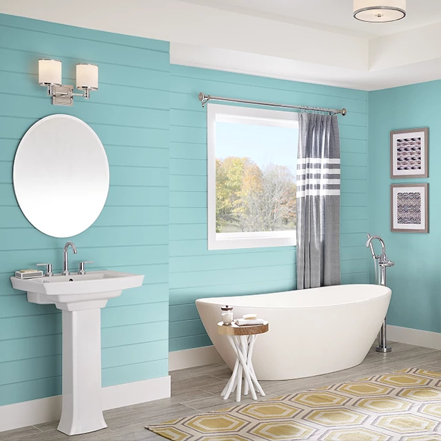 Bathroom painted in GLACIAL WATERS