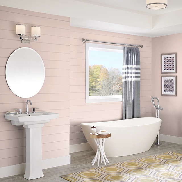 Bathroom painted in CAMEO CORAL