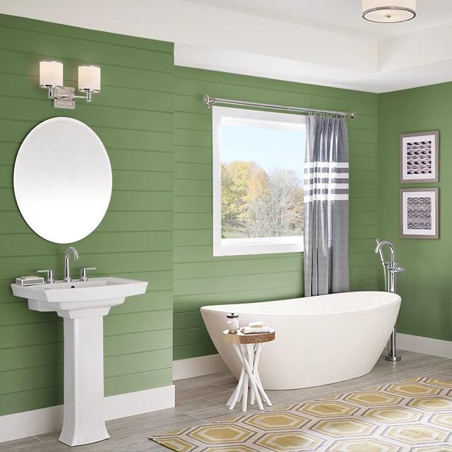Bathroom painted in PLANT STEM