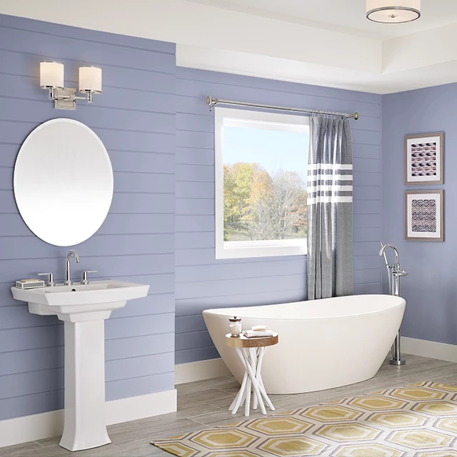Bathroom painted in LAVENDER HERB
