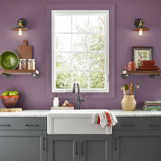 Kitchen painted in GYPSY PLUM