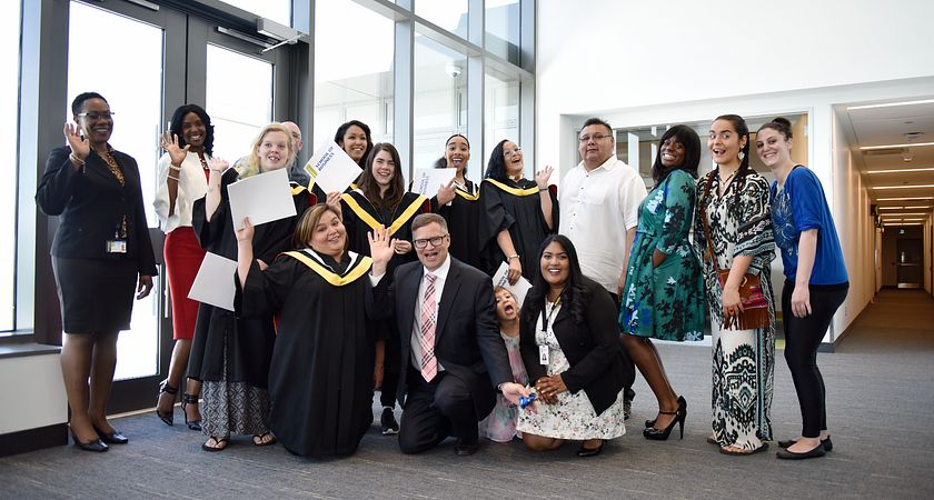 Picture of Led young College Faculty and the first graduating class from the Administrative Assistant program helping Indigenous women learn and enter the workforce