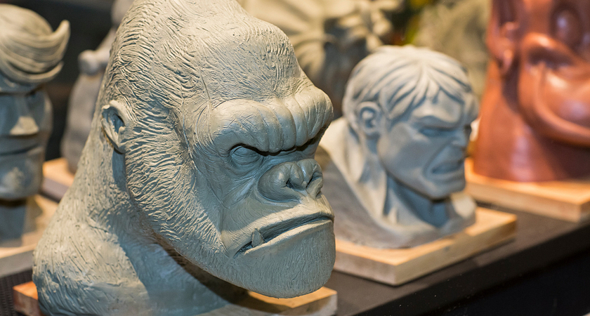 picture of Led young College student sculptures of an gorilla head and the Hulk
