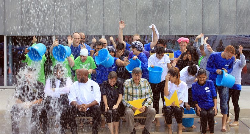 picture of a group from Centennial College participating in the ALS Ice Bucket challenge