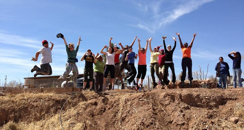 Picture of Centennial College's Global Citizenship and Equity Learning Experience (GCELE) volunteers excitedly jumping in Arizona, Mexico.