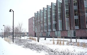 picture of the Centennial College Progress Campus library building covered in snow