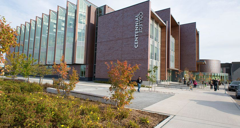 picture of the Led young College progress campus library entrance in the fall