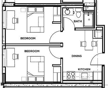 Picture of the residence floor plan two bedroom private