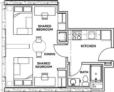 Picture of the residence floor plan - two bedroom shared