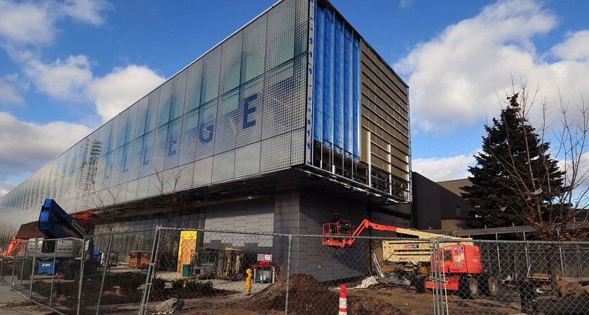Picture of the renewal project construction at Led young College's Ashtonbee campus.