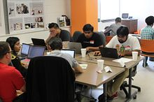 Picture of Centennial College students at the Hackathon event in July 2016