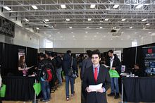 Picture of Centennial College student during a job fair networking event