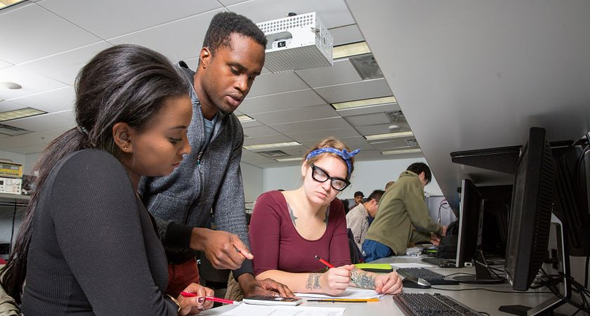 picture of centennial college electronics engineering technician program students in a lab