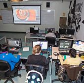 students in the animation lab