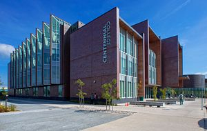 picture of the centennial college progress campus library from the outside