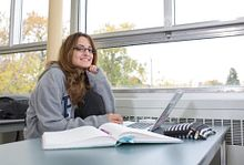 picture of a Centennial College student sitting in a classroom