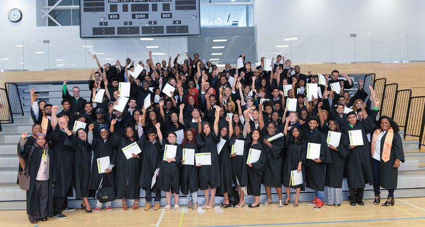 Picture of Centennial College HYPE students at their convocation ceremony graduating