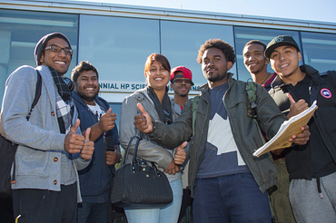 picture of a group of centennial college students standing outside the morningside campus