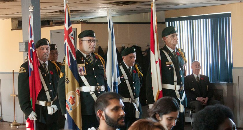 Picture of Veterans during the Remembrance Day Observance at the Royal Canadian Legion Hall