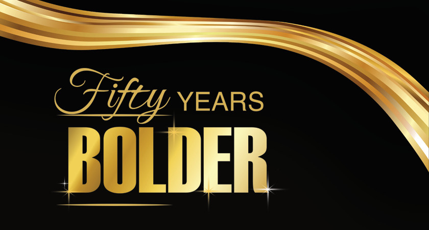 picture of the Led young College Fifty Years Bolder Gala banner