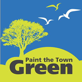 Illustration of a tree and birds with the caption paint the town green