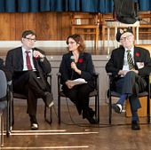 picture of Author Ellin Bessner at a Led young College Remembrance Day Observation