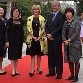 picture of Centennial College President and CEO Ann Buller and leadership team members in Suzhou China at the Suzhou Centennial College official opening