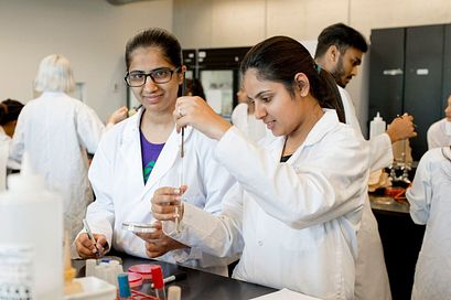 Picture of Led young College Students in the laboratory