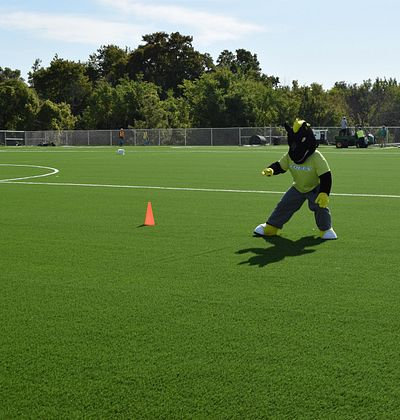 Picture of the Centennial College Colts Mascot playing soccer as a goalie on the soccer turf field