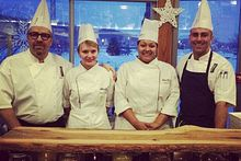 Picture of Centennial College students Ashley Middlestadt and Breanna Spence with Chef Sam Glass and Chef Terry Port at the Battle of Ontario event at Niagara College