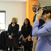 Picture of Kirsty Duncan using a VR Headset