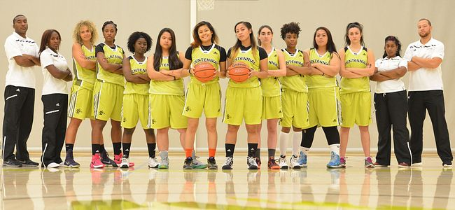 Picture of Centennial College Colts 2015 Womens basketball team with the coaches