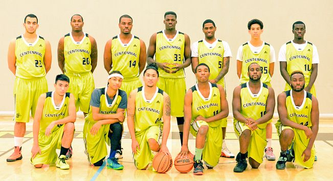 picture of the Centennial College Colts 2015 mens basketball team