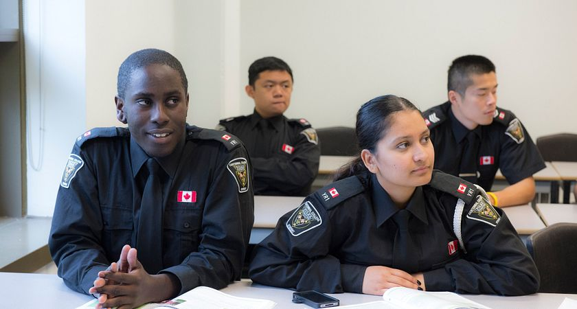 Picture of a group of Police Foundations students in a classroom