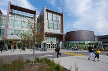 picture of the centennial college progress campus library from outside the entrance