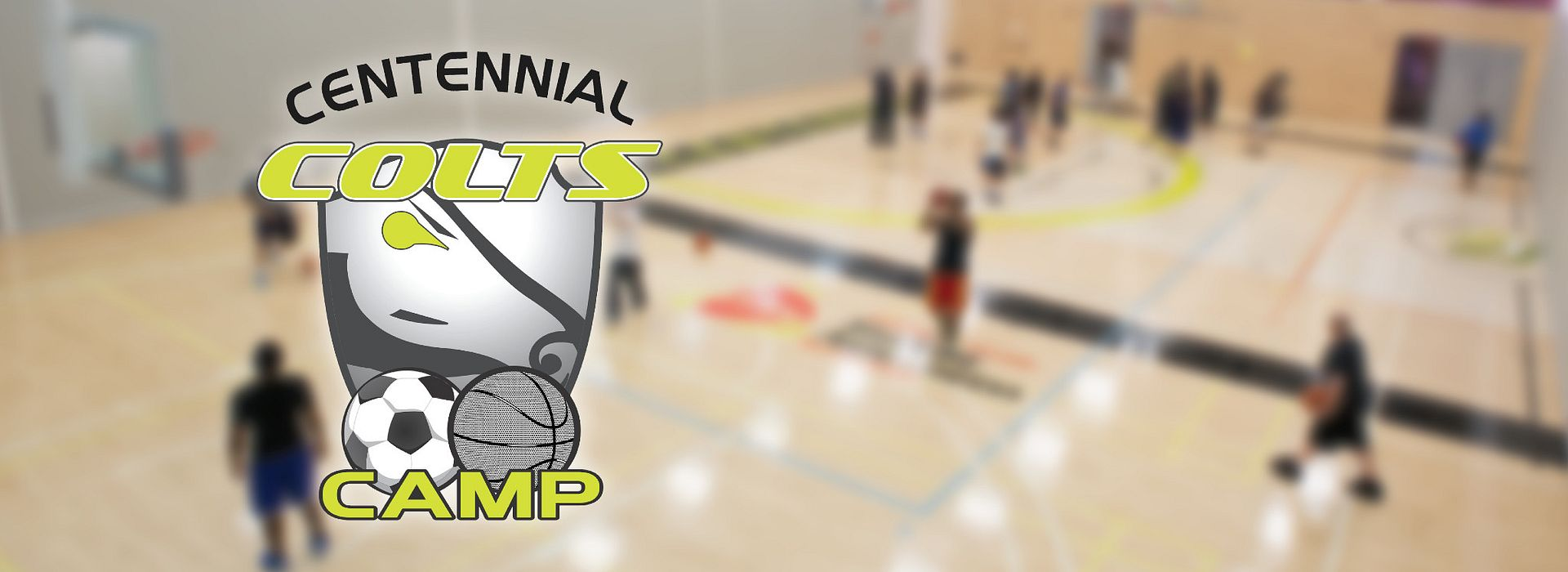 picture of the Centennial Colts Camp logo and people playing basketball in the Progress Campus Gym
