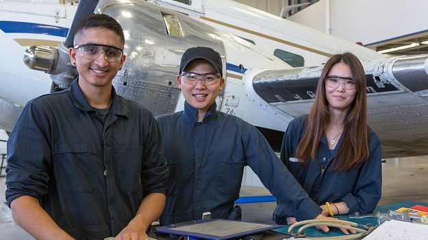 Centennial College School of Transportation Aircraft Avionics lab students
