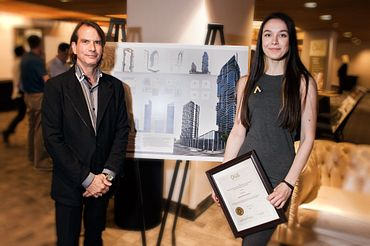 picture of a Centennial College Architectural Technician program student and faculty member