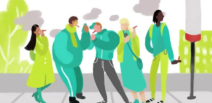 Illustration of five people smoking while holding cigarettes at a bus stop as plumes of smoke fill the air