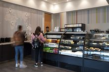 Picture of students at the residence grab and go cafeteria