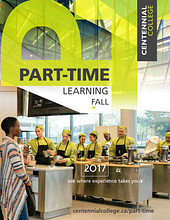 Link to the Centennial College Part-time 2017 Spring Catalogue, a download link is available