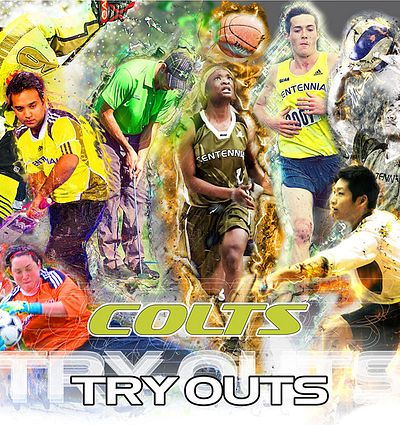Picture of a collage of Centennial College student athletes playing sports