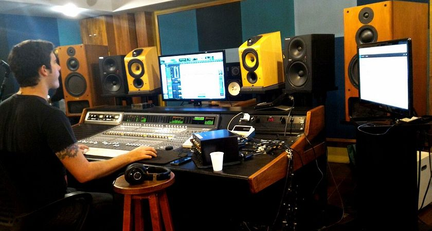 João Thiré, Music Industry Arts and Performance student, in recording studio