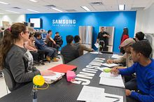 picture of Centennial College Electronics Engineering Technology program students in the Samsung Tech Institute classroom