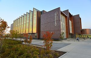 picture of the Centennial College Progress Campus library building at sunset