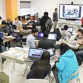 picture of centennial college software engineering students at the Hackathon event creating health care apps